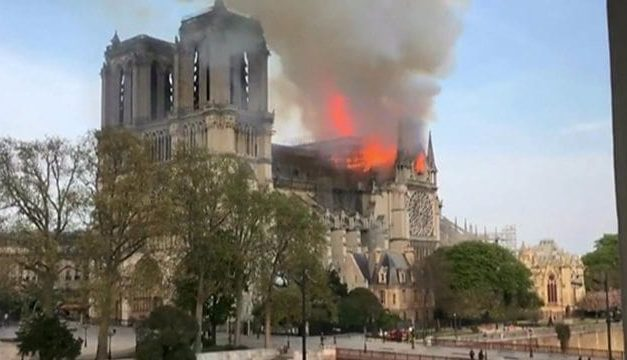 Famous Notre-Dame Cathedral in Paris is Burning