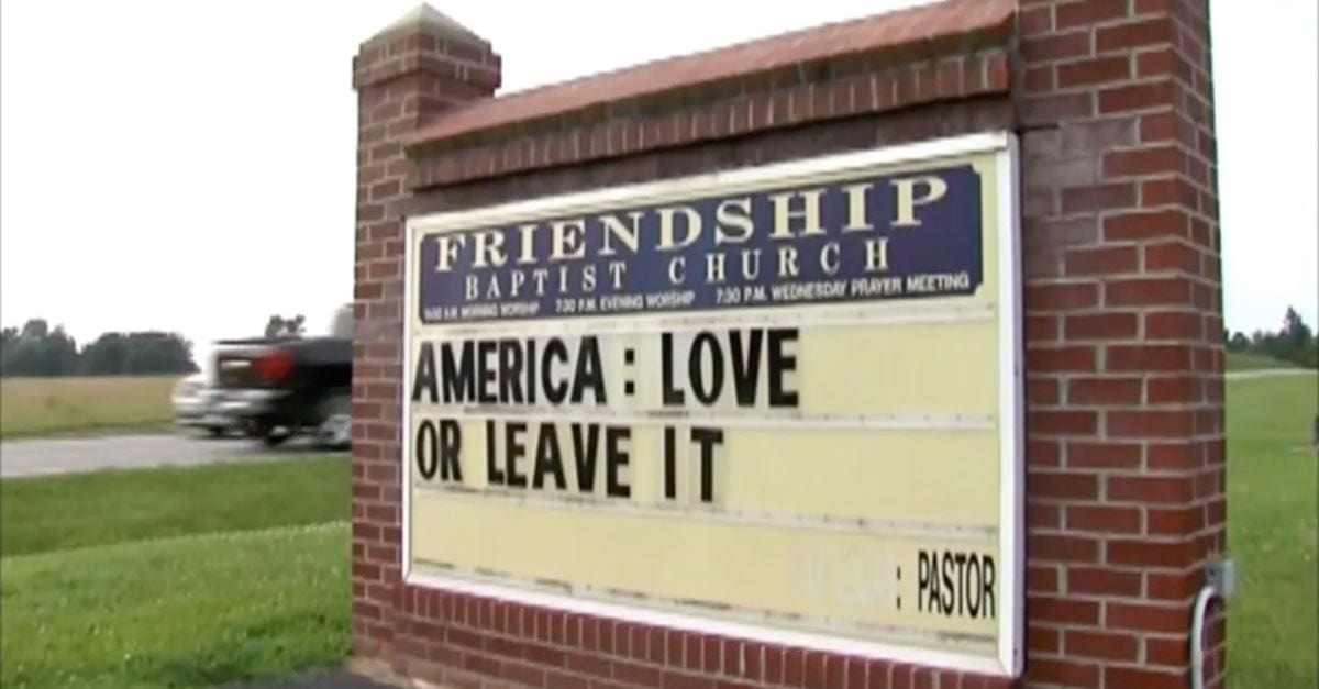Congregants Walkout of Church over Pastor's Controversial 'Love it or Leave it' Sign