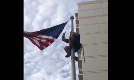 WATCH: American Flag Breaks Loose, Navy SEAL Climbs the Flag Pole to Fix It